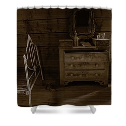 Old Dresser And Bed Shower Curtain