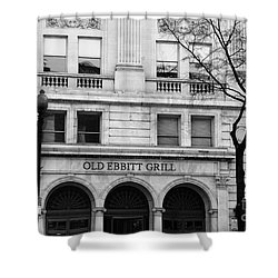 Old Ebbitt Grill Facade Black And White Shower Curtain