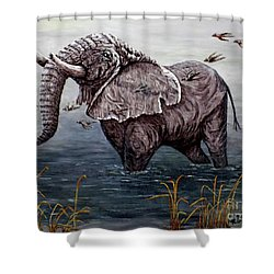 Old Elephant Shower Curtain by Judy Kirouac