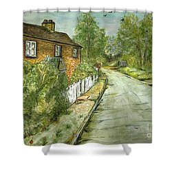 Shower Curtain featuring the painting Old English Cottage by Teresa White