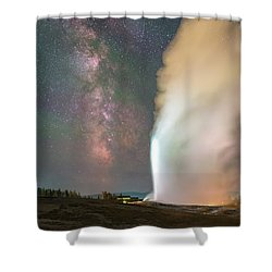 Old Faithful Erupts At Night Shower Curtain