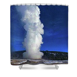 Old Faithful In Winter Shower Curtain by C Sitton