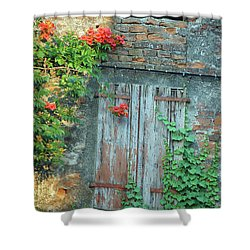 Shower Curtain featuring the photograph Old Farm Door by Frank Stallone