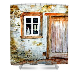 Shower Curtain featuring the painting Old Farm House by Sher Nasser