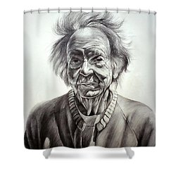 Old Farm Lady Shower Curtain