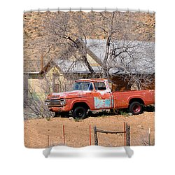 Old Farm Trucks Along Route 66 Shower Curtain