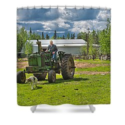 Old Farmer Old Tractor Old Dog Shower Curtain