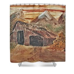 Old Farmhouse With Hay Stack In A Snow Capped Mountain Range With Tractor Tracks Gouged In The Soft  Shower Curtain by MendyZ