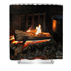 Old Fashioned Fireplace Shower Curtain