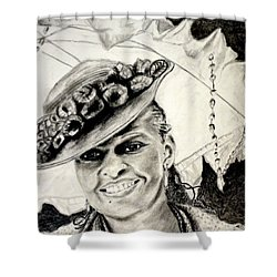 Old Fashioned Girl In Black And White Shower Curtain
