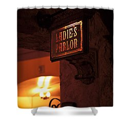 Shower Curtain featuring the photograph Old Fashioned Ladies Parlor Sign by Carolyn Marshall
