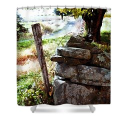 Shower Curtain featuring the photograph Old Fence Post Orchard by Janine Riley