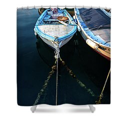 Old Fishing Boats Of The Adriatic Shower Curtain
