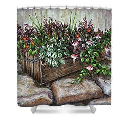 Shower Curtain featuring the painting Old Flower Box by Kim Lockman