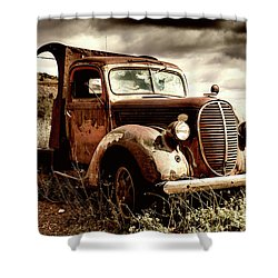 Old Ford Truck In Desert Shower Curtain