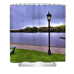 Old Forge Waterfront Shower Curtain by David Patterson