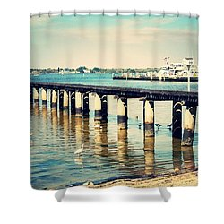 Old Fort Myers Pier With Ibises Shower Curtain by Carol Groenen