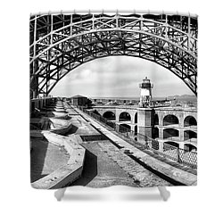 Old Fort Point Lighthouse Under The Golden Gate In Bw Shower Curtain