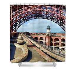 Old Fort Point Lighthouse Under The Golden Gate Shower Curtain