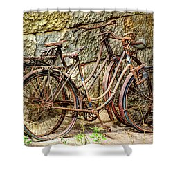 Old French Bicycles Shower Curtain by Debra and Dave Vanderlaan