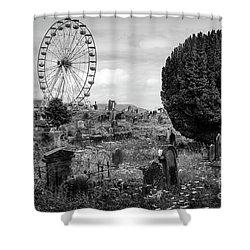 Old Glenarm Cemetery And Big Wheel Bw Shower Curtain by RicardMN Photography