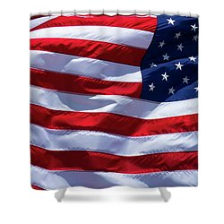 Shower Curtain featuring the photograph Stitches Old Glory American Flag Art by Reid Callaway