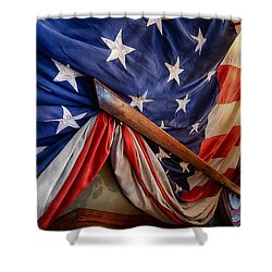 Old Glory On The Handrail Shower Curtain
