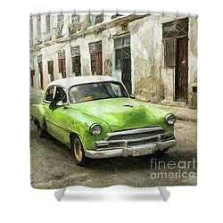 Old Green Car Shower Curtain