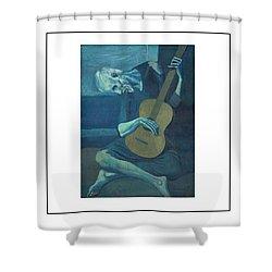 Old Guitarist Shower Curtain