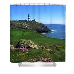 Old Head Of Kinsale Lighthouse Shower Curtain by The Irish Image Collection