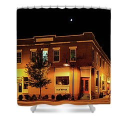 Old Hotel Moonlight Shower Curtain by Dale R Carlson