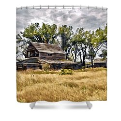 Old House And Barn Shower Curtain by James Steele