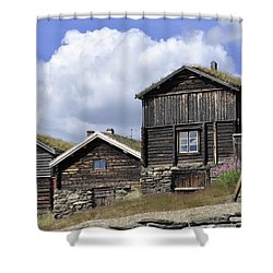 Old Houses In Roeros Shower Curtain by Thomas M Pikolin