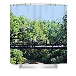 Shower Curtain featuring the photograph Old Iron Bridge Over Caddo Creek by Sheila Brown