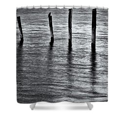 Shower Curtain featuring the photograph Old Jetty - S by Werner Padarin