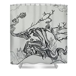 Old Juniper Dancing With The Wind -- Field Sketch Shower Curtain by Dawn Senior-Trask