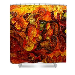 Old Klezmer Band Shower Curtain by Leon Zernitsky