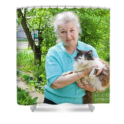 Old Lady With Cat Shower Curtain by Irina Afonskaya
