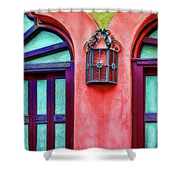 Shower Curtain featuring the photograph Old Lamp Between Windows by Gary Slawsky