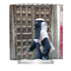 Old Lamu Town Muslim Woman Walking Shower Curtain