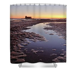 Old Lifesavers Building At Twilight Shower Curtain by Angelo DeVal