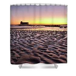 Old Lifesavers Building Covered By Warm Sunset Light Shower Curtain by Angelo DeVal