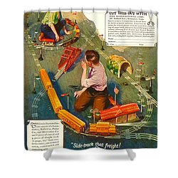 Old Litho Print Toy Train Advertisement Shower Curtain