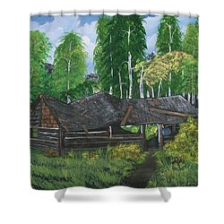 Shower Curtain featuring the painting Old Log Cabin And   Memories by Sharon Duguay