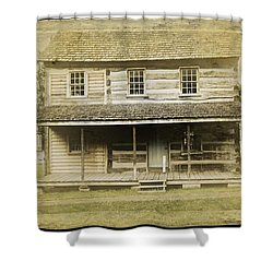 Shower Curtain featuring the photograph Old Log Cabin by Joan Reese