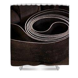 Old Machine Belt Shower Curtain by Tom Singleton