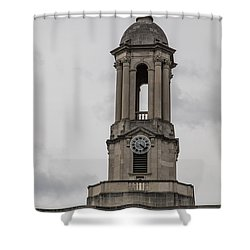 Old Main From Front Clock Shower Curtain by John McGraw
