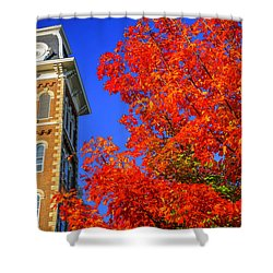Old Main Maple Shower Curtain by Damon Shaw