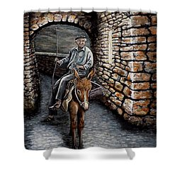 Old Man On A Donkey Shower Curtain by Judy Kirouac