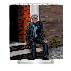 Old Man Waiting Shower Curtain by Judy Kirouac